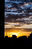Sunset over the city of Berlin Germany. Stock Image