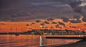 Sunset over the city Budva stock image