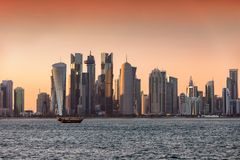 Sunset over the city center skyline of Doha