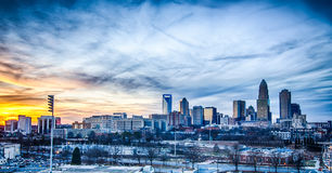 Sunset over city of charlotte Stock Photography