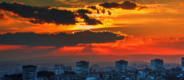 Sunset over city Royalty Free Stock Photos