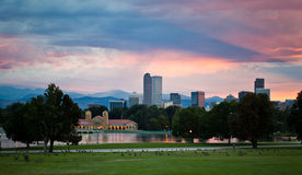 Sunset over the city of Denver. Mountain sunset with colourful sky over the downtown city of Denver, Colodaro Stock Photo