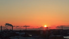 Sunset over the city. Gothenburg, Sweden. Time Lap stock footage