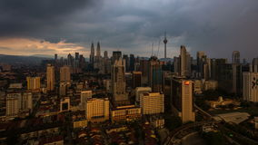 Sunset over the City of Kuala Lumpur, Malaysia stock video footage
