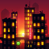 Sunset Over The City. Lights from city apartments add to the summer dusk city glow. Vector illustration Royalty Free Stock Image