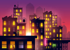 Sunset Over The City. Lights from city apartments add to the summer dusk city glow. Vector illustration Stock Photo