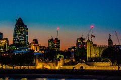 Sunset over city of london Stock Images