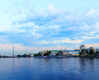 Sunset over city pond and the business part of the city of Yekaterinburg Stock Photo