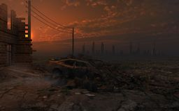 Sunset over the city ruins. Apocalyptic scene with city ruins Royalty Free Stock Photo