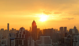 Sunset over city scape Royalty Free Stock Image