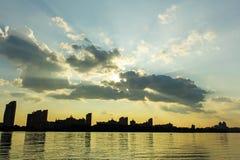 Sunset over city. stock photo