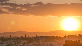 Sunset over the city timelapse View of Madrid, Spain. Photo taken from the hills of Tio Pio Park, Vallecas-Neighborhood. 4K stock footage