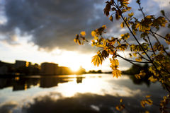 Sunset over city by water Royalty Free Stock Photo