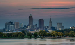 Sunset Over Cleveland Ohio Skyline. Harvest moon sunset over Cleveland, Ohio skyline stock images