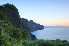 Sunset over the cliff of Otaru in Hokkaido, Japan Royalty Free Stock Images