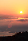 Sunset over clouds Royalty Free Stock Images