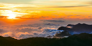 Sunset over clouds - Gran Canaria - Roque del nublo national park Stock Images