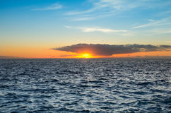 Sunset over the coast of Atlantic ocean Royalty Free Stock Photo