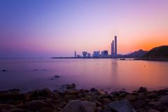 Sunset over the coast in Hong Kong Stock Image
