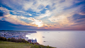 Sunset over the coast of Normandie Royalty Free Stock Photography