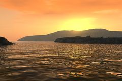 Sunset over coastline. Scenic view of sunset over silhouetted coastline Royalty Free Stock Images