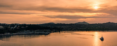 Sunset over Corfu island Stock Photography