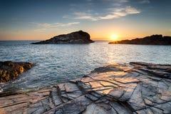 Sunset over the Cornwall Coast stock photo