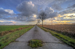 Sunset over countryside road Royalty Free Stock Image