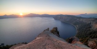 Sunset over the Crater Lake stock image