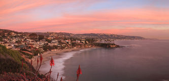 Sunset over Crescent Bay in Laguna Beach Royalty Free Stock Images