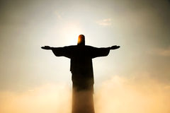 Cristo Redentor behind clouds Royalty Free Stock Photo