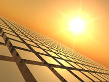 Sunset over Cube Grid. A 3D background illustration of a Sunset over Cube Grid Stock Photos