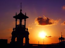 Sunset over cupola structures royalty free stock photos