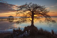 Free Sunset Over Currituck Sound In Duck North Carolina Stock Image - 171358611