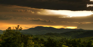 Sunset over Curvature Carpathians Stock Photos