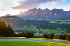 Sunset over Dachstein mountains range in Northern Limestone Alps Schladming. Sunset over Dachstein mountains range in Northern Limestone Alps, Schladming Royalty Free Stock Images