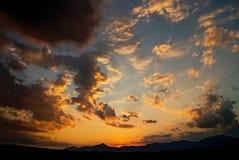 Sunset over dam Liptovska Mara. Extraordinarily dramatic Sunset on Slovak Liptov Stock Photo
