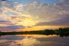 Sunset over danube delta Royalty Free Stock Images