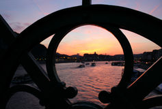 Sunset over the Danube river Stock Photo