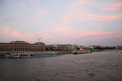 Sunset over the Danube river Stock Images