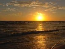 Sunset over dark Baltic sea Stock Photo