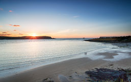 Sunset over Daymer Bay in Cornwall Royalty Free Stock Image