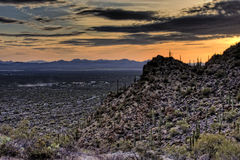 Sunset over the Desert. Sunset from near Gates Pass. Tucson Mountain County Park in Saguearo National Park royalty free stock photo
