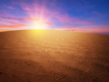 Sunset over the desert Royalty Free Stock Photography