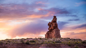 Sunset over desert rock stack formation Stock Photo