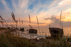 Sunset over destroyed forts Stock Images