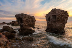 Sunset over destroyed Northern forts Royalty Free Stock Photography