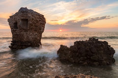 Sunset over destroyed Northern forts Stock Photos