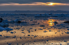 Sunset over Disko bay, Greenland Royalty Free Stock Photo