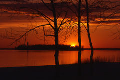 Sunset over dixie Island. Red Sunset over Dixie Island. Lachine QC Royalty Free Stock Image